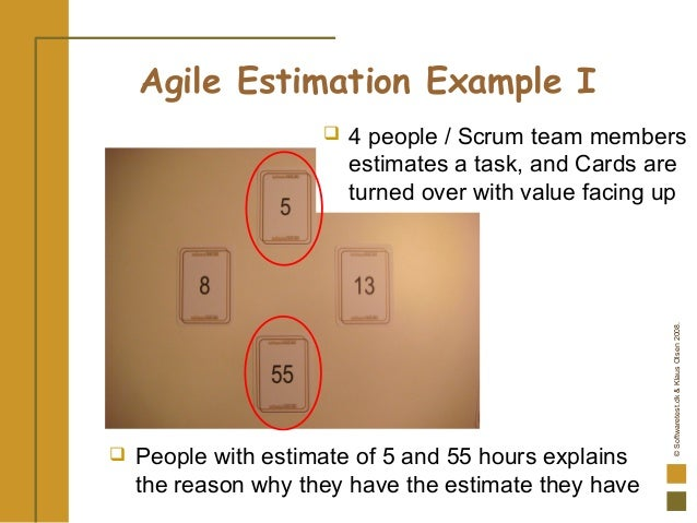 ©Softwaretest.dk&KlausOlsen2008. Agile Estimation Example I  People with estimate of 5 and 55 hours explains the reason w...