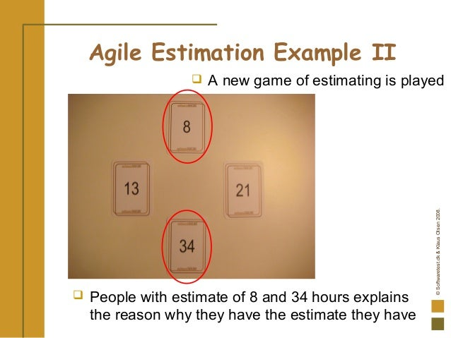 ©Softwaretest.dk&KlausOlsen2008. Agile Estimation Example II  People with estimate of 8 and 34 hours explains the reason ...