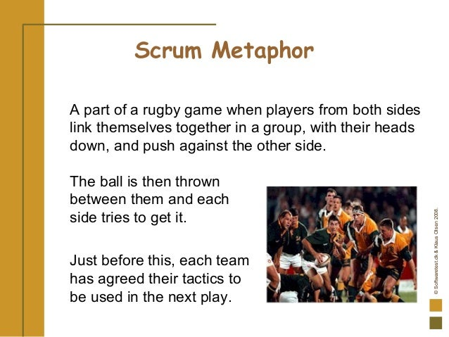 ©Softwaretest.dk&KlausOlsen2008. A part of a rugby game when players from both sides link themselves together in a group, ...