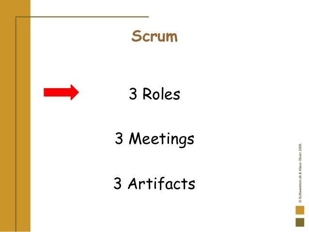 ©Softwaretest.dk&KlausOlsen2008. Scrum 3 Roles 3 Meetings 3 Artifacts