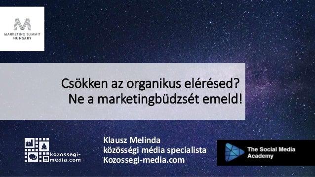 Csökken az organikus elérésed? Ne a marketingbüdzsét emeld! Klausz Melinda közösségi média specialista Kozossegi-media.com