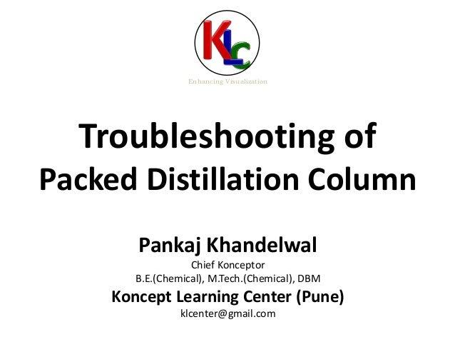 Troubleshooting of Packed Distillation Column Enhancing Visualization Pankaj Khandelwal Chief Konceptor B.E.(Chemical), M....