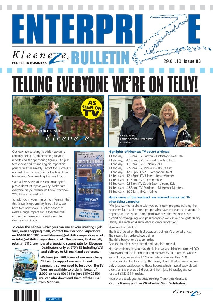 BULLETIN                                                    29.01.10 Issue 03     TELLING EVERYONE WE'RE ON TELLY!        ...