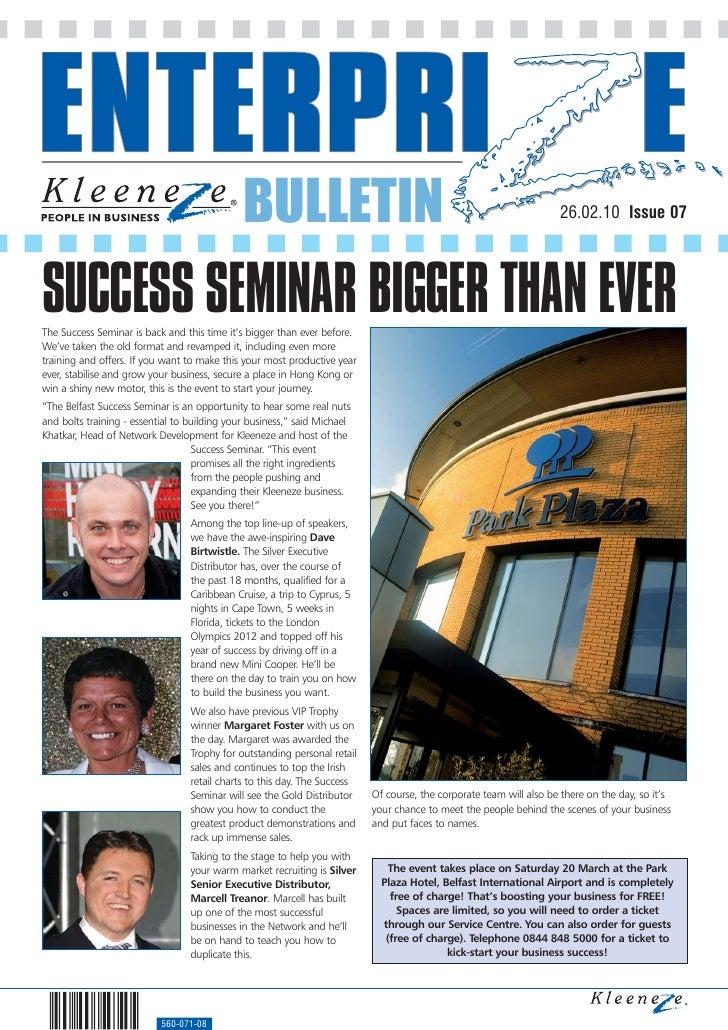 BULLETIN                                                               26.02.10 Issue 07     SUCCESS SEMINAR BIGGER THAN E...