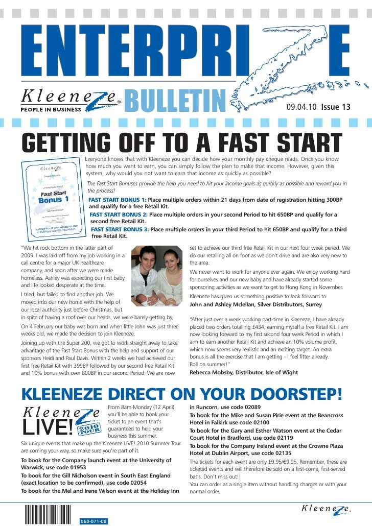 BULLETIN                                                                09.04.10 Issue 13    GETTING OFF TO A FAST START E...