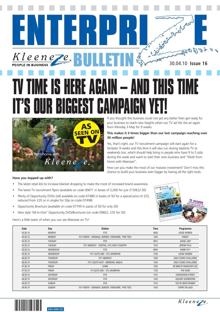 BULLETIN                                                                       30.04.10 Issue 16     TV TIME IS HERE AGAIN...