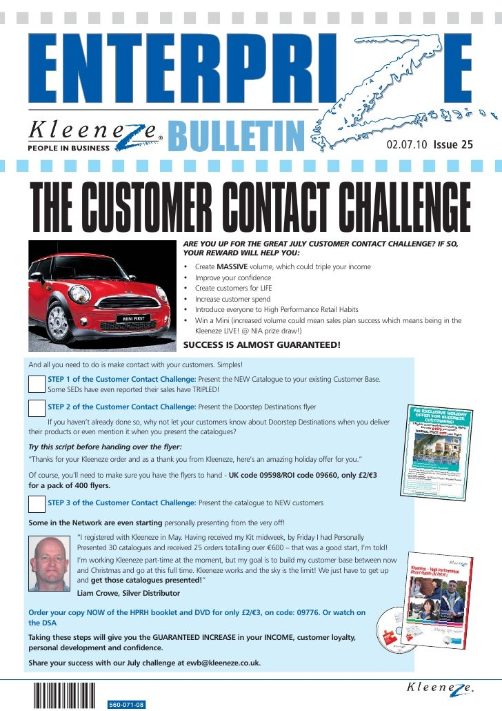 BULLETIN                                                               02.07.10 Issue 25     THE CUSTOMER CONTACT CHALLENG...
