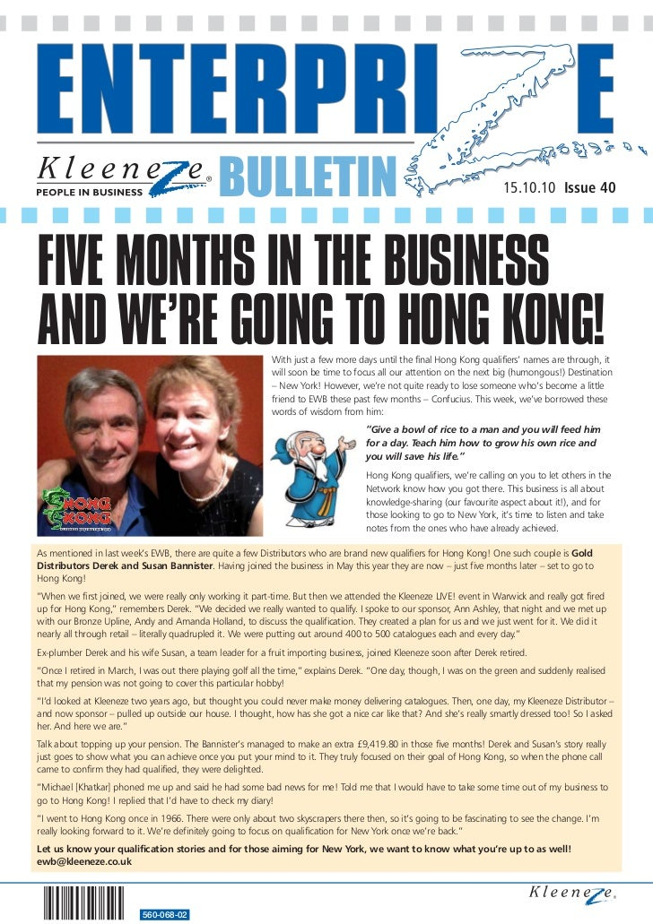 BULLETIN                                                                 15.10.10 Issue 40FIVE MONTHS IN THE BUSINESSAND W...