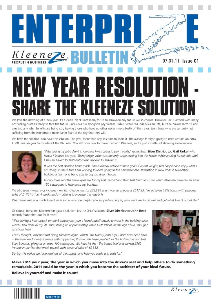 BULLETIN                                                                   07.01.11 Issue 01NEW YEAR RESOLUTION -SHARE THE...