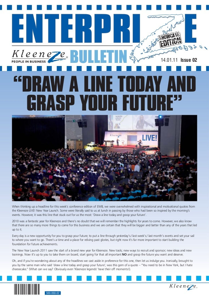 """BULLETIN                                                                  14.01.11 Issue 02""""DRAW A LINE TODAY AND GRASP YO..."""