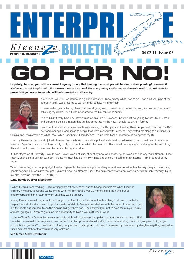BULLETIN                                                                   04.02.11 Issue 05GO FOR NO!Hopefully, by now, y...