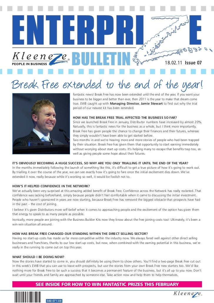 BULLETIN                                                             18.02.11 Issue 07Break Free extended to the end of th...