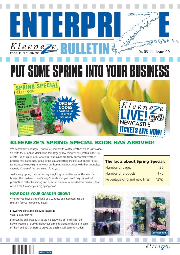 BULLETIN                                                     04.03.11 Issue 09PUT SOME SPRING INTO YOUR BUSINESS          ...