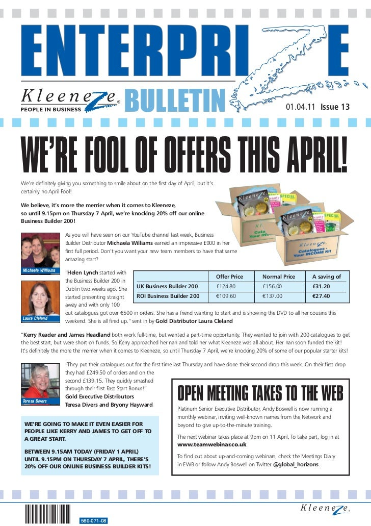 BULLETIN                                                              01.04.11 Issue 13WE'RE FOOL OF OFFERS THIS APRIL!We'...