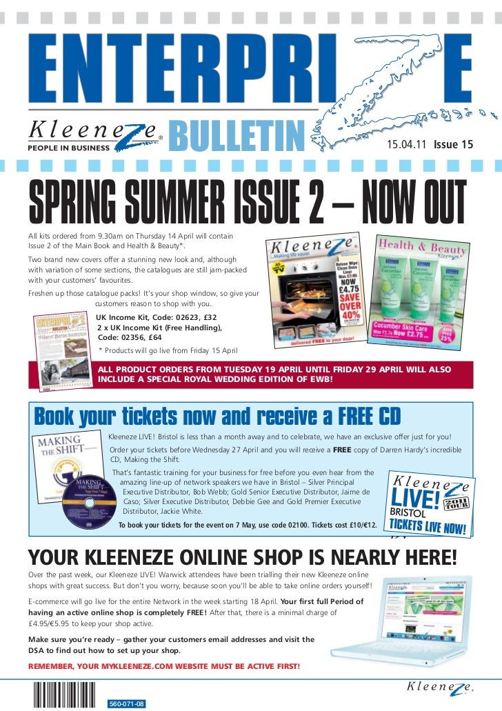 BULLETIN                                                              15.04.11 Issue 15SPRING SUMMER ISSUE 2 – NOW OUTAll ...