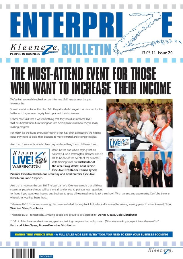 BULLETIN 560-068-02 13.05.11 Issue 20 We've had so much feedback on our Kleeneze LIVE! events over the past few months. So...