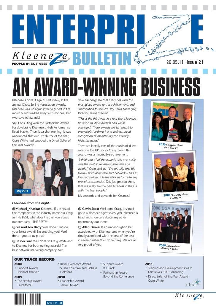 BULLETIN                                                          20.05.11 Issue 21AN AWARD-WINNING BUSINESSKleeneze's don...