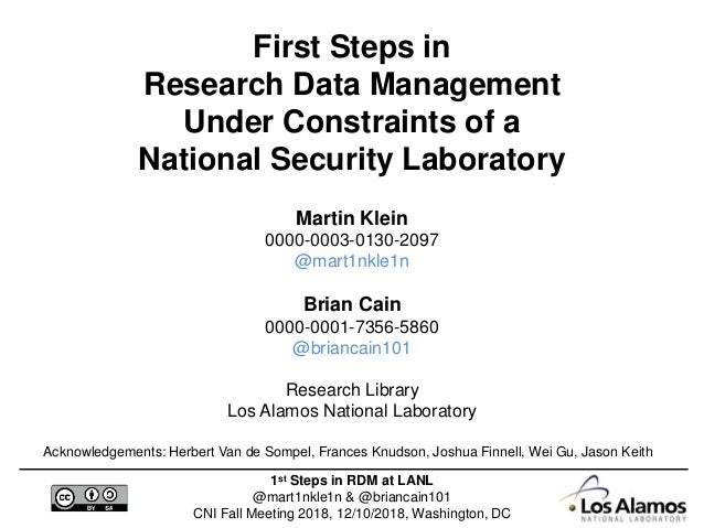 1st Steps in RDM at LANL @mart1nkle1n & @briancain101 CNI Fall Meeting 2018, 12/10/2018, Washington, DC First Steps in Res...