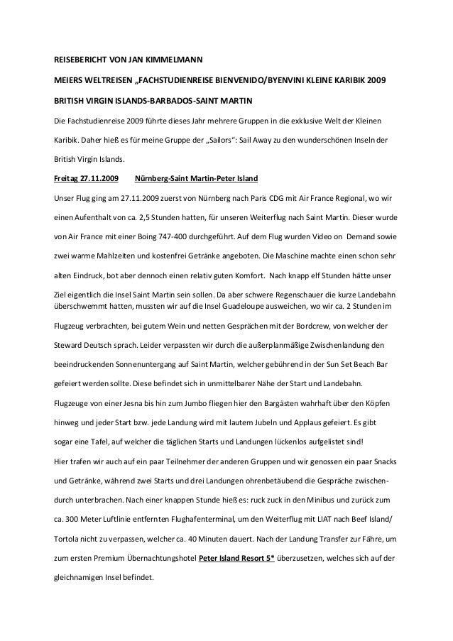 """REISEBERICHT VON JAN KIMMELMANN MEIERS WELTREISEN """"FACHSTUDIENREISE BIENVENIDO/BYENVINI KLEINE KARIBIK 2009 BRITISH VIRGIN..."""