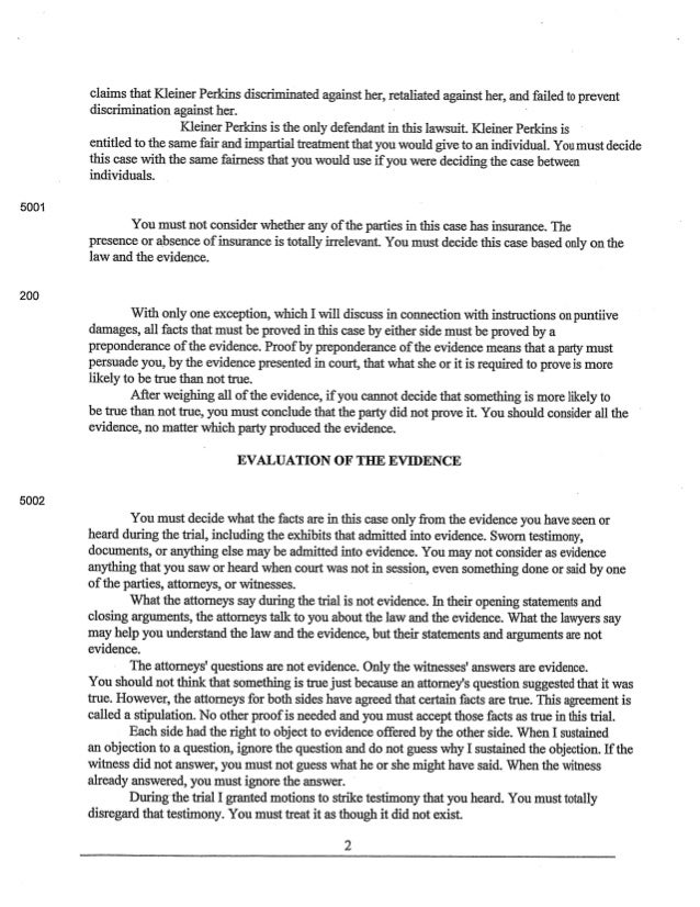 Ellen Pao v. Kleiner Perkins - JURY INSTRUCTIONS