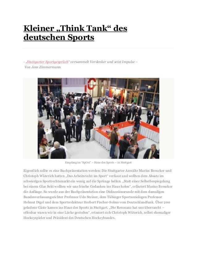 """Kleiner """"Think Tank"""" des deutschen Sports 2FEB - """"Stuttgarter Sportgespräch"""" versammelt Vordenker und setzt Impulse – Von ..."""