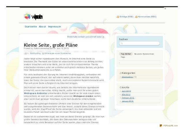 Webinhalte einfach und schnell ladenKleine Seite, große PlänePosted by: flatboosterwebspace on: Juni 13, 2013In: Webhostin...