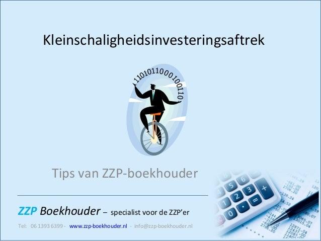 Kleinschaligheidsinvesteringsaftrek Tips van ZZP-boekhouder