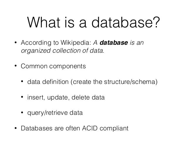 define a database and a database Discover the world's #1 cloud database management products and solutions including the self-driving and fully automated autonomous database cloud 18c.