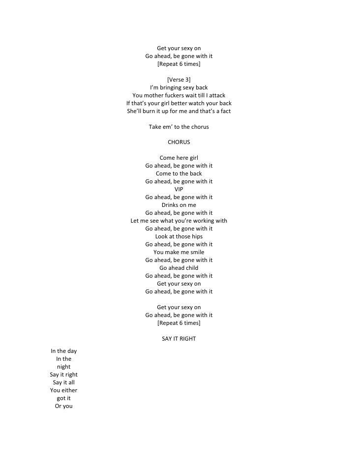 Im bringing sexy back lyrics photo 17