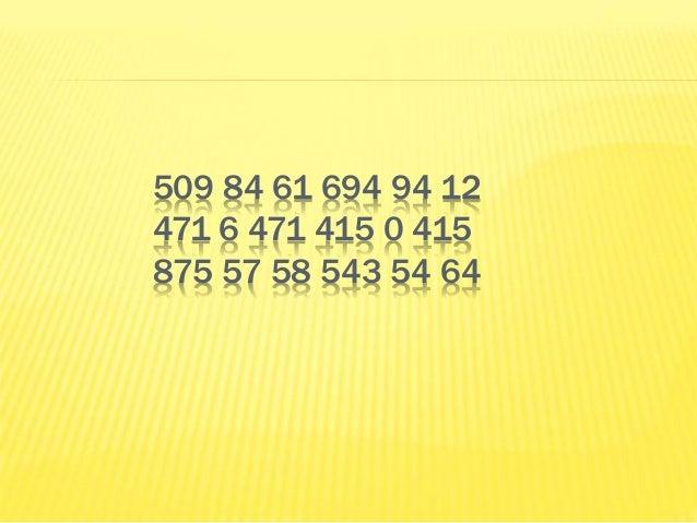 509 84 61 694 94 12 471 6 471 415 0 415 875 57 58 543 54 64