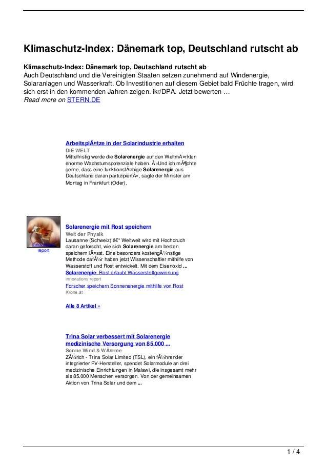 Klimaschutz-Index: Dänemark top, Deutschland rutscht abKlimaschutz-Index: Dänemark top, Deutschland rutscht abAuch Deutsch...