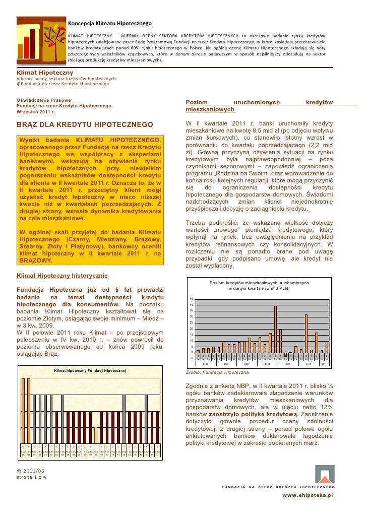 Koncepcja Klimatu Hipotecznego                                           KLIMAT HIPOTECZNY – MIERNIK OCENY SEKTORA KREDYTÓ...