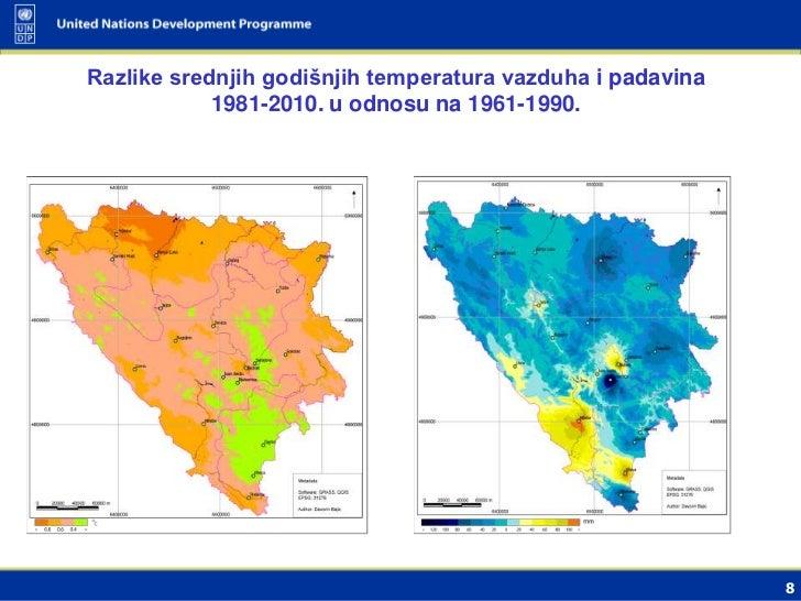 Razlike srednjih godišnjih temperatura vazduha i padavina            1981-2010. u odnosu na 1961-1990.                    ...