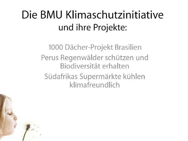 Die BMU Klimaschutzinitiative und ihre Projekte:<br />