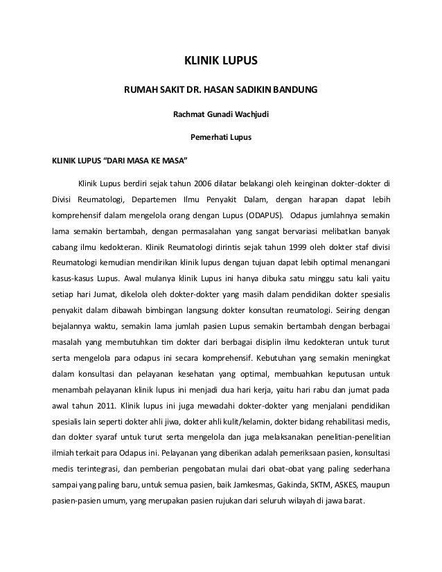 """KLINIK LUPUS RUMAH SAKIT DR. HASAN SADIKIN BANDUNG Rachmat Gunadi Wachjudi Pemerhati Lupus KLINIK LUPUS """"DARI MASA KE MASA..."""