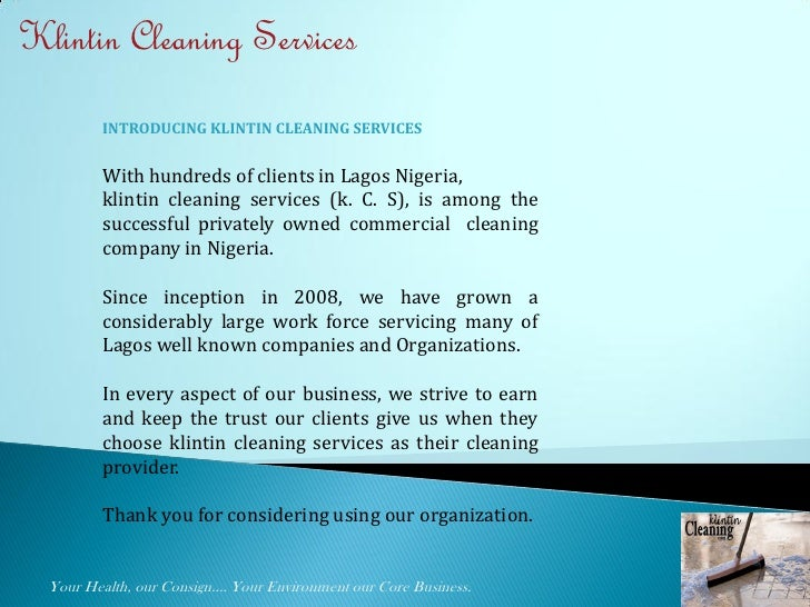 Klintin Cleaning Services Presentation