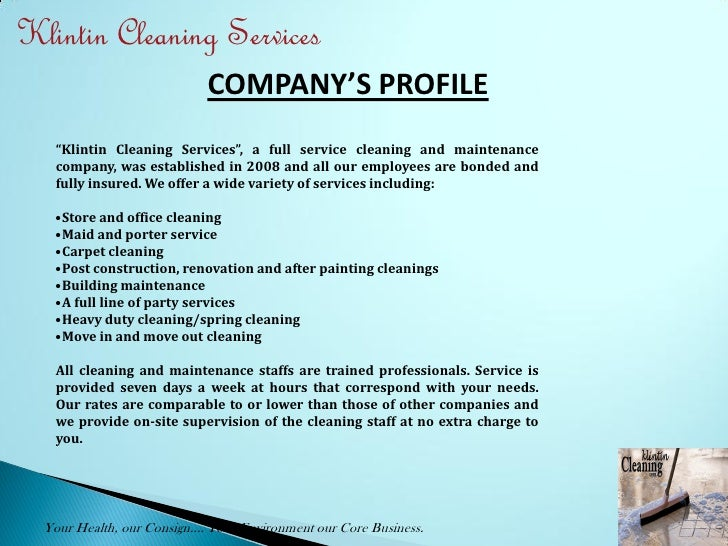 writing a cleaning company profile