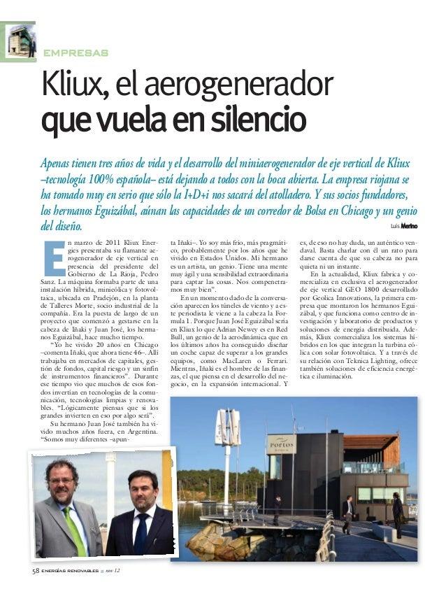 ER116_58_64:ER47_24_27__REALMADRID 05/11/12 13:38 Página 58            EMPRESAS            Kliux, el aerogenerador        ...