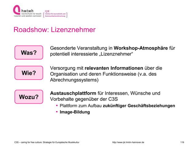http://www.ijk.hmtm-hannover.de Roadshow: Lizenznehmer Gesonderte Veranstaltung in Workshop-Atmosphäre für potentiell inte...