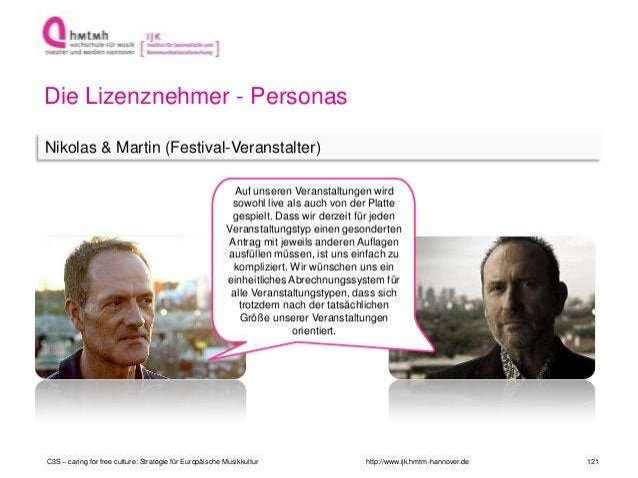 http://www.ijk.hmtm-hannover.de Die Lizenznehmer - Personas Nikolas & Martin (Festival-Veranstalter) C3S – caring for free...