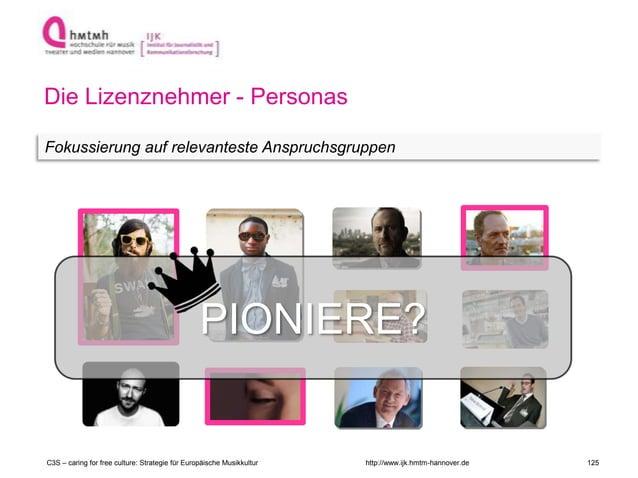 http://www.ijk.hmtm-hannover.de Die Lizenznehmer - Personas Fokussierung auf relevanteste Anspruchsgruppen PIONIERE? C3S –...