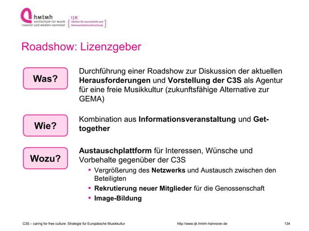 http://www.ijk.hmtm-hannover.de Roadshow: Lizenzgeber Durchführung einer Roadshow zur Diskussion der aktuellen Herausforde...