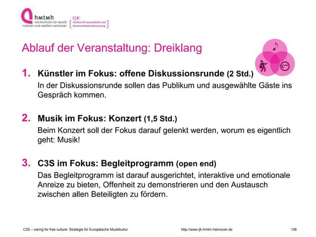 http://www.ijk.hmtm-hannover.de Ablauf der Veranstaltung: Dreiklang 1. Künstler im Fokus: offene Diskussionsrunde (2 Std.)...