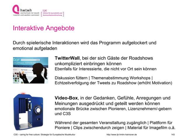 http://www.ijk.hmtm-hannover.de Interaktive Angebote Durch spielerische Interaktionen wird das Programm aufgelockert und e...