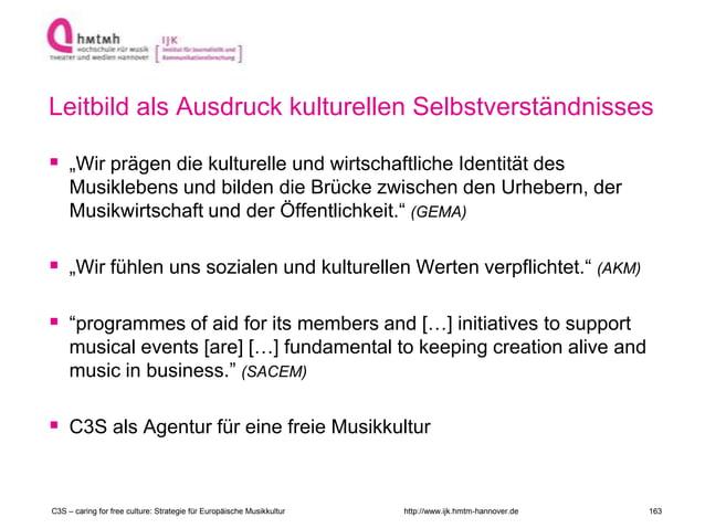 """http://www.ijk.hmtm-hannover.de Leitbild als Ausdruck kulturellen Selbstverständnisses  """"Wir prägen die kulturelle und wi..."""