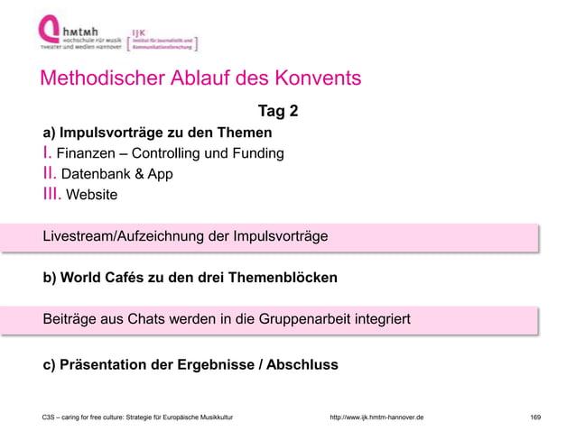 http://www.ijk.hmtm-hannover.de Methodischer Ablauf des Konvents Tag 2 a) Impulsvorträge zu den Themen I. Finanzen – Contr...
