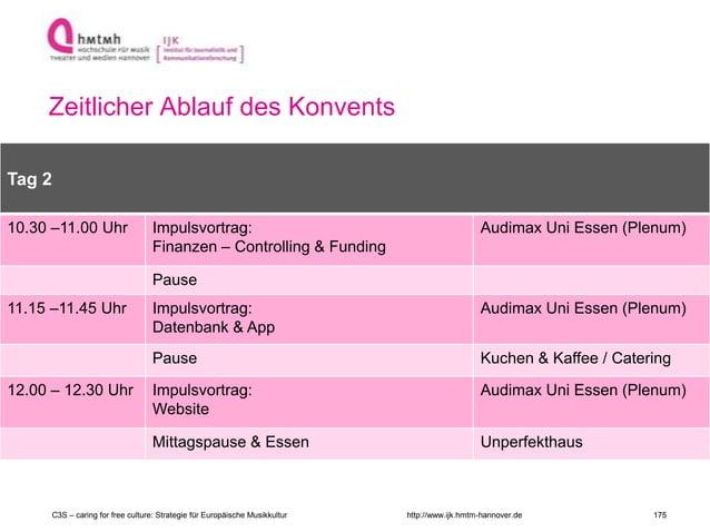 http://www.ijk.hmtm-hannover.de Zeitlicher Ablauf des Konvents Raum 2 Tag 2 10.30 –11.00 Uhr Impulsvortrag: Finanzen – Con...