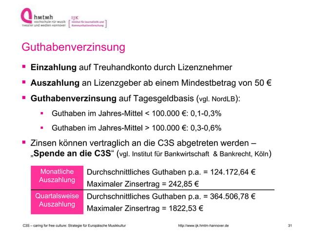http://www.ijk.hmtm-hannover.de Guthabenverzinsung  Einzahlung auf Treuhandkonto durch Lizenznehmer  Auszahlung an Lizen...
