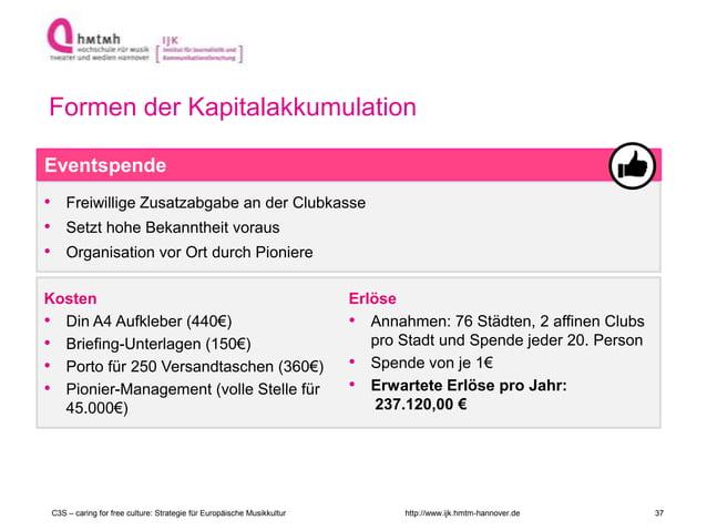 http://www.ijk.hmtm-hannover.de • Freiwillige Zusatzabgabe an der Clubkasse • Setzt hohe Bekanntheit voraus • Organisation...