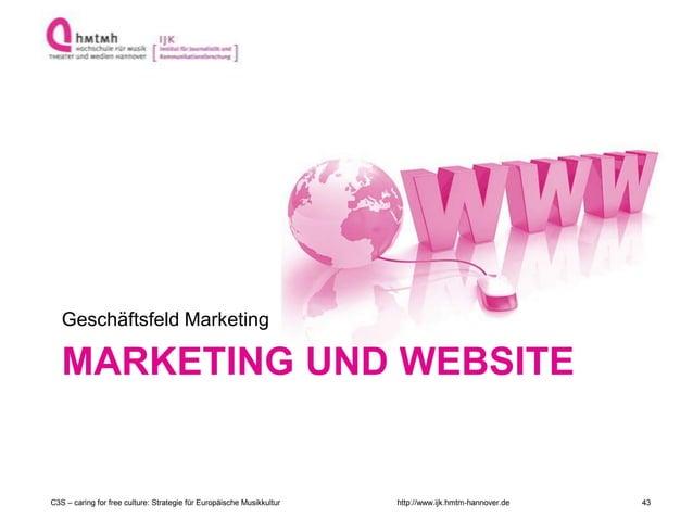 http://www.ijk.hmtm-hannover.de MARKETING UND WEBSITE Geschäftsfeld Marketing C3S – caring for free culture: Strategie für...